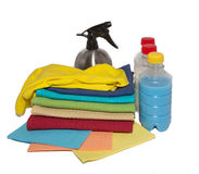 Wipes for cleaning gloves and spray. Wipes for cleaning and wiping gloves and liquid Royalty Free Stock Images