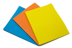 Wipes for cleaning and wiping. Blue orange and yellow Royalty Free Stock Photos