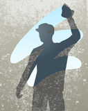 Wiping. Editable vector silhouette of a man cleaning a window Royalty Free Stock Photos