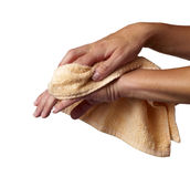 Wiping hands in towel Stock Photos