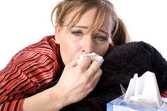 Wiping nose sick Stock Photo