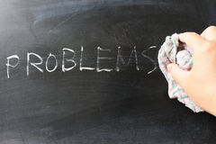 Wiping off problems. Hand wiping off problems word using rug Royalty Free Stock Image