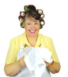 Wiping Up Housewife royalty free stock image