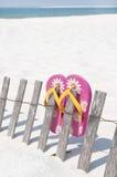 Wipschakelaars op strandomheining Stock Afbeeldingen