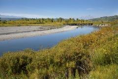 Żwirów banki Bawolia rozwidlenie rzeka, Jackson dziura, Wyoming zdjęcia stock