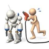 Wir benötigen die Stromversorgung zum Roboter. Stockbild