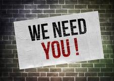Wir benötigen Sie Stockbild