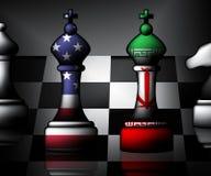 Wir der Iran-Konflikt und Sanktionen oder Krise - Illustration 3d lizenzfreie stockfotos