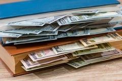 wir 100 Dollar im Buch Lizenzfreie Stockfotos