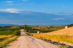 Żwir droga w Tuscany, Włochy Zdjęcia Royalty Free