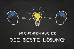 `Wir finden für Sie die beste Lösung`, heads and idea bulb with chalk board background. Translation: `We find for you the bes stock photography