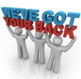 Wir haben Ihre Rückseite - Leute-anhebende Wörter Stockbild