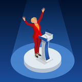 Wir infographic Versammlung republikanischer Partei Demokraten der Wahl-2016 Bewerber USA-Symbolpräsidentendebatten-Vektorikone lizenzfreie abbildung