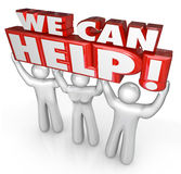 Wir können Kundendienst-Stützhelfern helfen Stockfoto