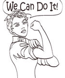 Wir können sie tun Faustsymbol der kühlen Frau des Vektors ikonenhaftes der weiblichen Energie und der Industrie Karikaturfrau mi Lizenzfreies Stockfoto