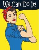 Wir können sie tun Faustsymbol der kühlen Frau des Vektors ikonenhaftes der weiblichen Energie und der Industrie Karikaturfrau mi Lizenzfreie Stockbilder