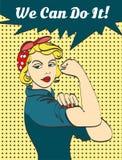 Wir können sie tun Ikonenhaftes Faustsymbol der Frau der weiblichen Energie und der Industrie Karikaturfrau mit kann Haltung tun Lizenzfreie Stockfotos