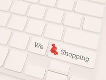 Wir lieben Einkaufskonzept, 3d übertragen Stockbilder