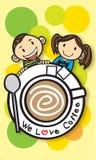 Wir lieben Kaffee Stockfoto