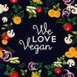 Wir lieben Lebensmitteldesign des strengen Vegetariers mit Gemüse Lizenzfreie Stockfotografie