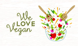 Wir lieben Lebensmitteldesign des strengen Vegetariers mit Gemüsesalat Lizenzfreies Stockfoto
