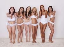 Wir lieben unsere Körper Stockfotografie