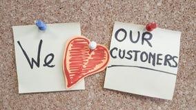 Wir lieben unsere Kundenunternehmensphotographie stockbild