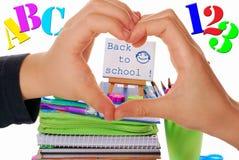Wir lieben zurück zu Schule Stockbild