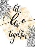 Wir sind zusammen besser Valentinsgrußtagesgrußkarte mit Kalligraphie Hand gezeichnete Auslegungelemente Handgeschriebenes modern stock abbildung