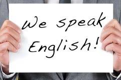 Wir sprechen Englisch stockfotos