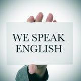 Wir sprechen Englisch lizenzfreie stockfotografie