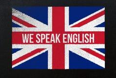Wir sprechen Englisch Stockbild