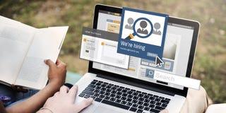 Wir stellen die Karriere an, die Job Occupation Concept Kopfjagd betreibt Lizenzfreies Stockbild
