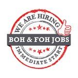 Wir stellen - verfügbare BOH- und FOH-Jobs an Unmittelbarer Anfang - bedruckbarer Jobangebotstempel stock abbildung