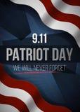 Wir vergessen nie 9 11 Patriot-Tageshintergrund, amerikanische Flagge streift Hintergrund Patriot-Tag am 11. September 2001 vektor abbildung