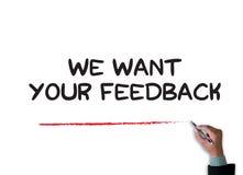 Wir wünschen Ihr Feed-back Stockbild