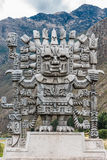 Wiracocha statue in Calca the peruvian Andes on Cuzco Peru. Wiracocha statue in Calca at the peruvian Andes on Cuzco Peru stock image