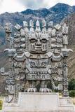 Wiracocha staty i Calca peruanska Anderna på Cuzco Peru fotografering för bildbyråer