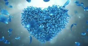 Wirbeln Sie drehende blaue Rose Flower Petals In Heart-Form-Hintergrund-Schleife 4k stock video footage