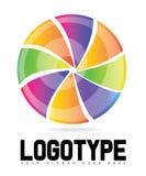 Wirbelnder Kreis mit farbigem Scheiben-Logo Stockbilder
