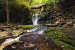Wirbelndes Wasser bei Elakala fällt in Blackwater-Nationalpark West Virginia Stockbilder