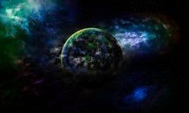 Wird astrologische Erde Planet des Wissenschaftshintergrundes durch Gas b abgedeckt lizenzfreie abbildung