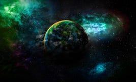 Wird astrologische Erde Planet des Wissenschaftshintergrundes durch Gas b abgedeckt vektor abbildung