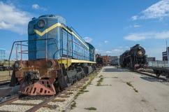 Wird die dieselelektrische Lokomotive TEM2, die durch die Kharkov-Transport-Maschinerieanlage hergestellt wird, beim AvtoVAZ tech lizenzfreie stockfotos