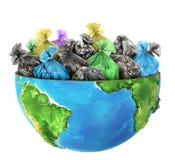 Wird Hälfte der Planet mit Kaimanfisch gefüllt lizenzfreie abbildung