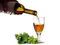 Wird in Weinglasweißwein gegossen Stockfotografie