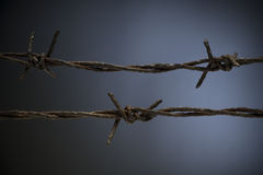 Wire. A closeup of two rows of rusty barwire Stock Photos