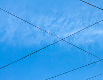 Wire against sky. Royalty Free Stock Photography