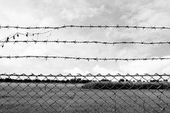 Barbed wire imprison, detention center, incarcerate, at countryside and background gray color style. Wire Barbed imprison, detention center, incarcerate, at royalty free stock image