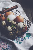 Wire basket with chicken and quail eggs for Easter Stock Photography